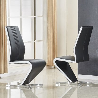 An Image of Gia Dining Chair In Black And White Faux Leather In A Pair