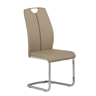 An Image of Holmes Cantilever Dining Chair In Latte PU With Chrome Base