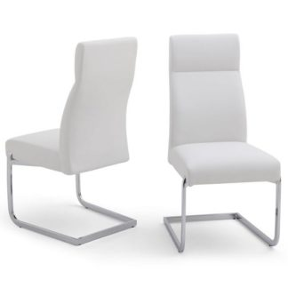 An Image of Swiss Cantilever Dining Chair In White Faux Leather In A Pair