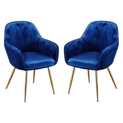 An Image of Lara Royal Blue Dining Chair With Gold Legs In Pair