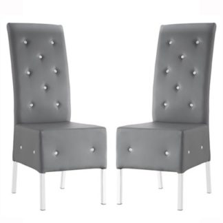 An Image of Asam Dining Chair In Grey Faux Leather in A Pair