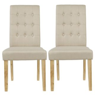 An Image of Heskin Dining Chair In Beige Linen Style Fabric in A Pair