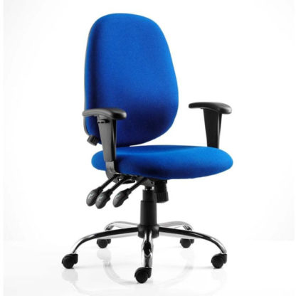 An Image of Lisbon Task Fabric Office Chair In Blue With Arms