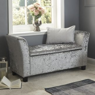 An Image of Charter Fabric Ottoman Seat In Grey Crushed Velvet