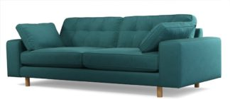 An Image of Content by Terence Conran Tobias, 3 Seater Sofa, Plush Kingfisher Blue Velvet, Light Wood Leg