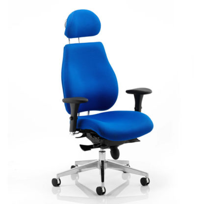 An Image of Chiro Plus Ergo Headrest Office Chair In Blue With Arms