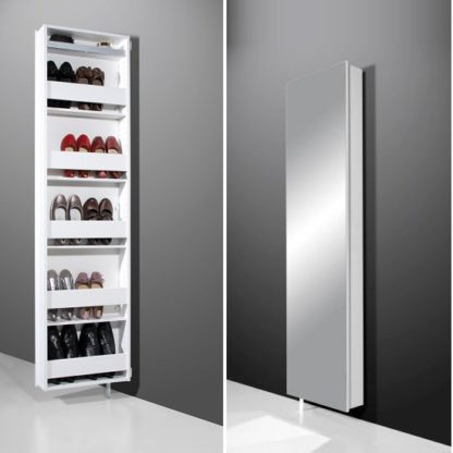 An Image of Igma Mirrored Rotating Shoe Storage Cabinet In White