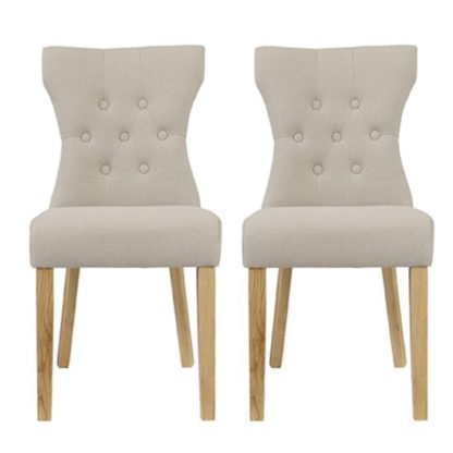 An Image of Optro Beige Fabric Dining Chairs In Pair