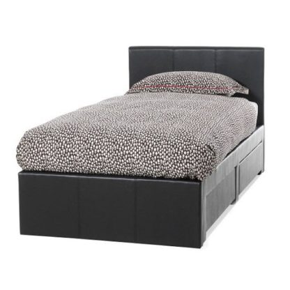 An Image of Lanolin Single Bed In Brown Faux Leather With 2 Drawers