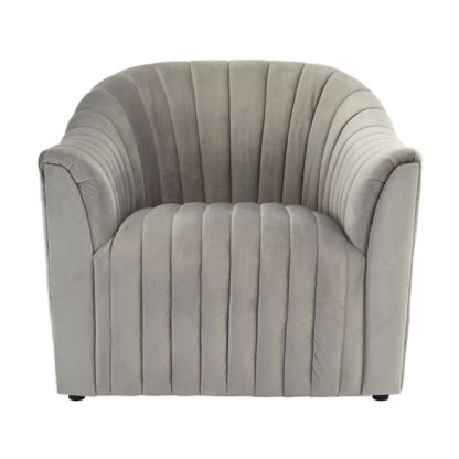 An Image of Larawag Grey Velvet Armchair With Natural Wood Feets