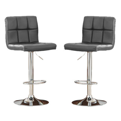 An Image of Cubik Grey Faux Leather Bar Stools In Pair With Chrome Base