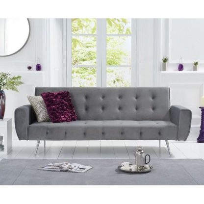 An Image of Minter Velvet High Backrest Sofa Bed In Grey With Metal Legs
