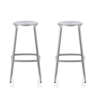 An Image of Bryson 66cm Metal Bar Stools In Silver In A Pair