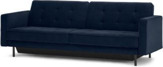 An Image of Rosslyn Click Clack Sofa Bed with Storage, Ink Blue Velvet