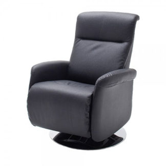 An Image of Almeida Rotating Reclining Chair In Black Leather And Metal Base