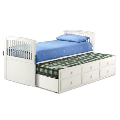 An Image of Hornblower Cabin Bed With 3 Drawer In White Stone Finish