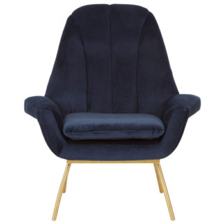 An Image of Biltun Velvet Bedroom Chair In Blue
