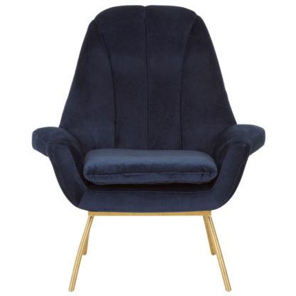 An Image of Biltun Velvet Bedroom Chair In Blue