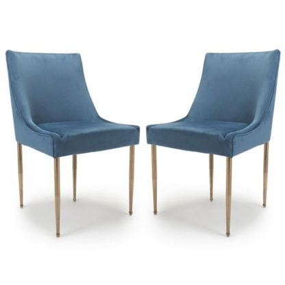 An Image of Earl Caribbean Blue Brushed Velvet Dining Chair In A Pair