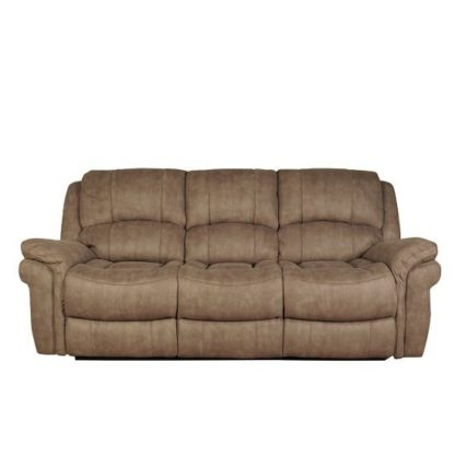 An Image of Claton Recliner 3 Seater Sofa In Taupe Leather Look Fabric
