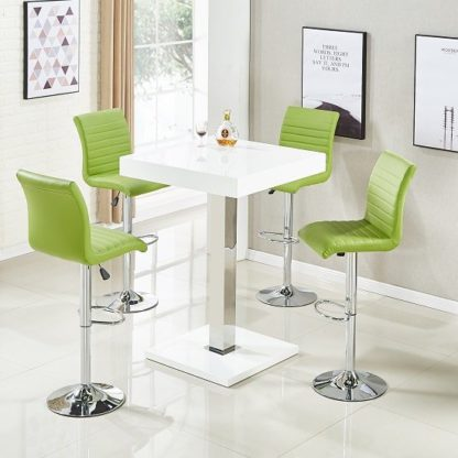 An Image of Topaz Bar Table In White High Gloss 4 Ripple Lime Green Stools