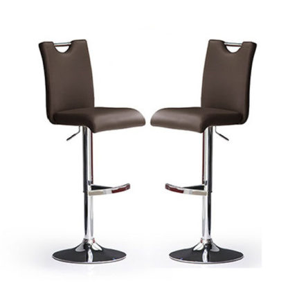 An Image of Bardo Bar Stools In Brown Faux Leather in A Pair
