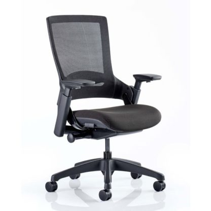 An Image of Molet Black Back Office Chair With Black Fabric Seat