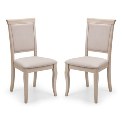 An Image of Lyon Pale Oak Upholstered Dining Chair In Pair