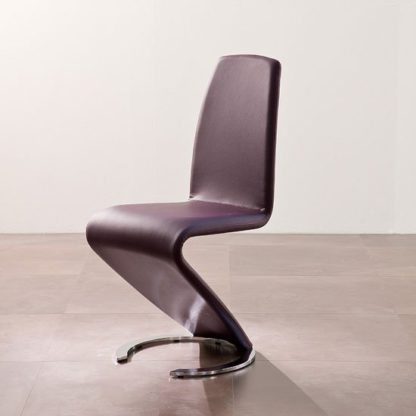 An Image of Swing II Metal Swinging Violet Real Leather Dining Chair