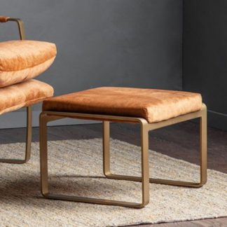 An Image of Fabien Velvet Footstool In Ochre With Metal Legs