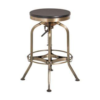 An Image of Diwo Metallic Bar Stool With Wooden Seat In Ash