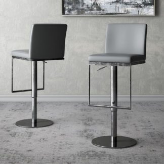 An Image of Enzo Grey Faux Leather Gas-lift Bar Stools In Pair