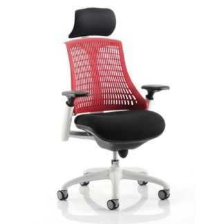 An Image of Flex Task Headrest Office Chair In White Frame With Red Back