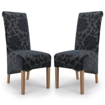 An Image of Krista Charcoal Baroque Velvet Dining Chair In A Pair