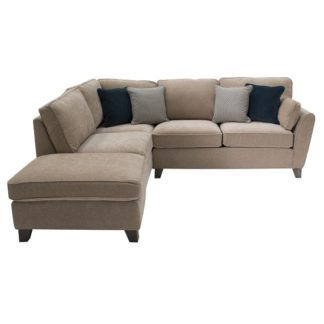 An Image of Barresi Chenille Fabric Left Hand Corner Sofa In Almond Finish