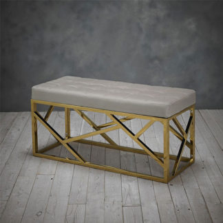 An Image of Renata Fabric Dining Bench In Mink With Gold Frame