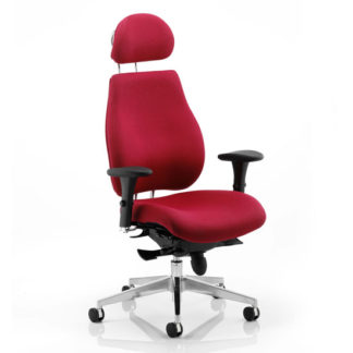 An Image of Chiro Plus Ergo Headrest Office Chair In Wine With Arms