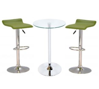 An Image of Bente Glass Bar Table With 2 Stratos Green Bar Stools