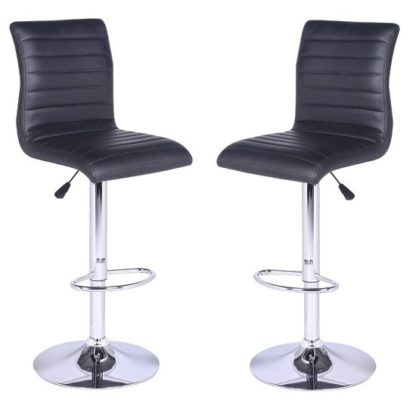 An Image of Ripple Bar Stools In Black Faux Leather in A Pair