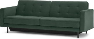 An Image of Rosslyn Click Clack Sofa Bed with Storage, Autumn Green Velvet