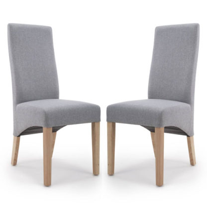 An Image of Baxter Silver Grey Linen Wave Back Dining Chair In A Pair