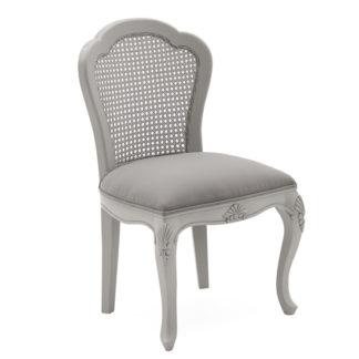 An Image of Albus Velvet Dressing Chair In Antique Grey