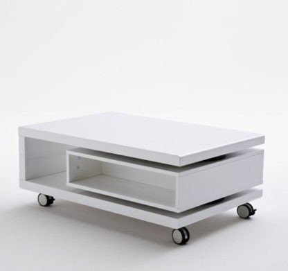 An Image of Angela Coffee Table High Gloss White With Pull Out Drawer