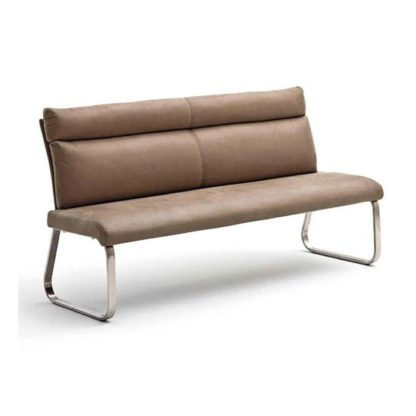 An Image of Rabea Fabric Small Dining Bench In Sand With Steel Frame