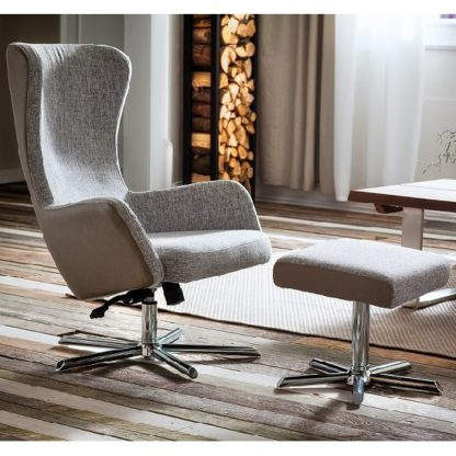 An Image of Davis Relaxing Chair With Foot Stool In Grey Beige Fabric