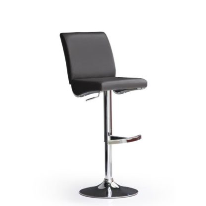 An Image of Diaz Black Bar Stool In Faux Leather With Round Chrome Base