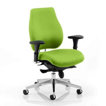 An Image of Chiro Plus Office Chair In Myrrh Green With Arms