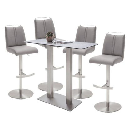 An Image of Soho Glass Bar Table With 4 Giulia Ice Grey Leather Stools