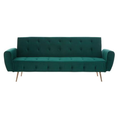 An Image of Emiw Green Velvet Sofa Bed With Metallic Gold Legs