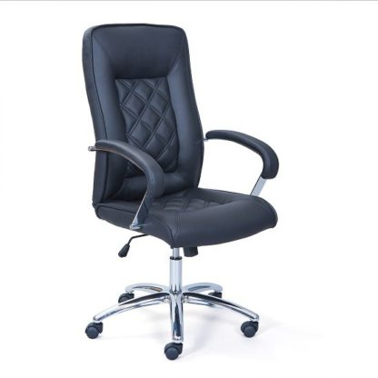 An Image of Elessia Home Office Chair In Black Faux Leather With Chrome Base